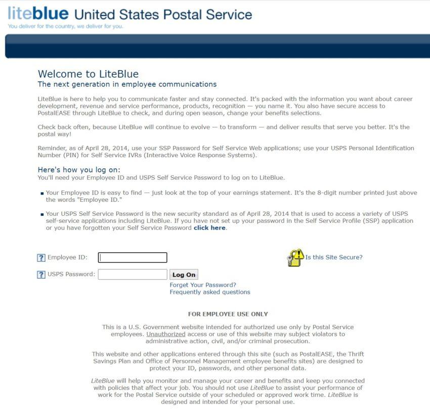 LiteBlue USPS login page